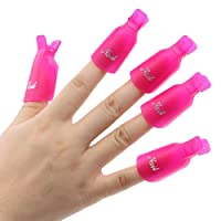 10Pcs Plastic Acrylic Nail Art Soak Off Clip Cap UV Gel Polish Remover Wrap Nail Tool (Rose-Red)