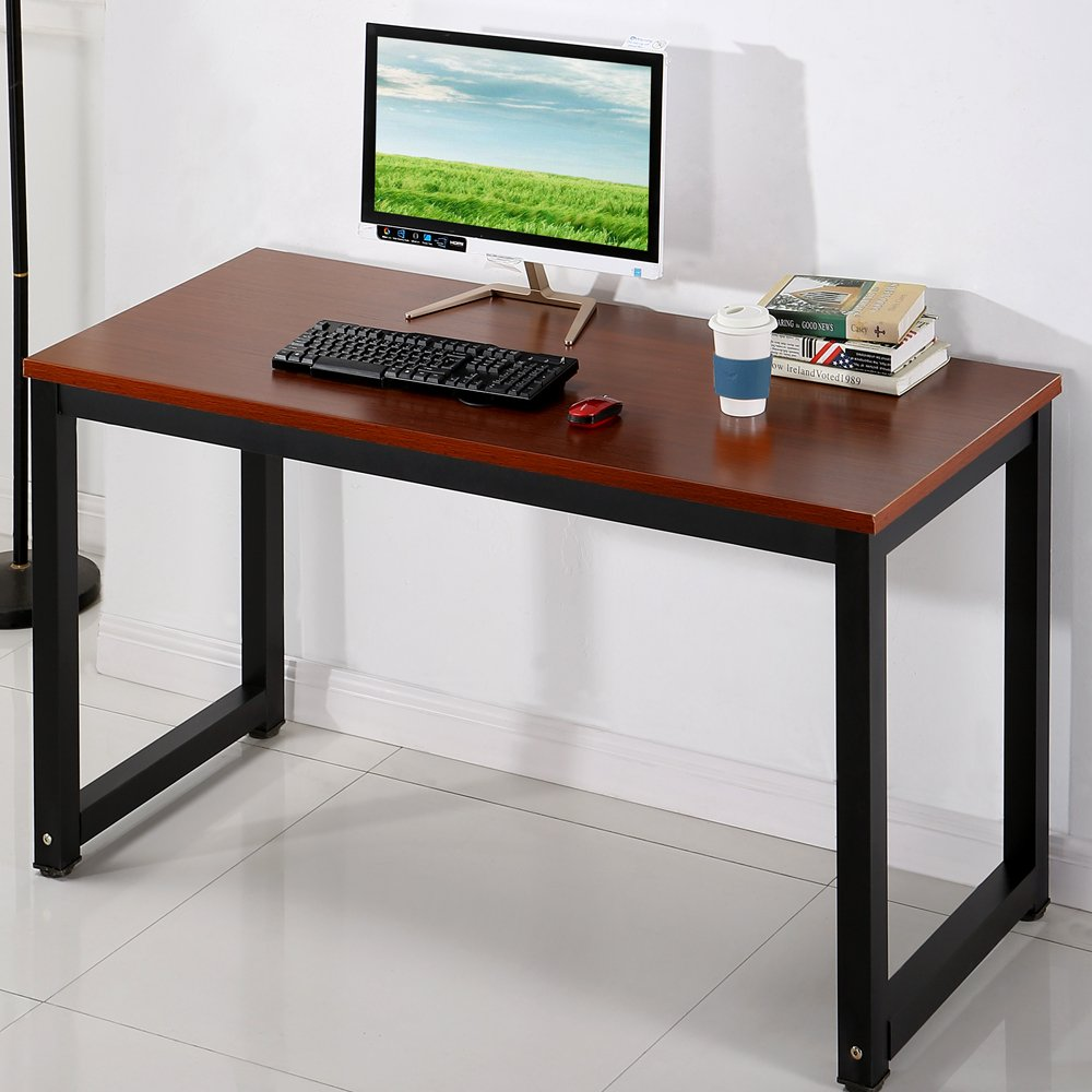 Office Desk Computer Desk Table, 24 L x 16 W x 12 H Modern Simple Style Study Table Workstation for Home Office School, Teak Black Leg