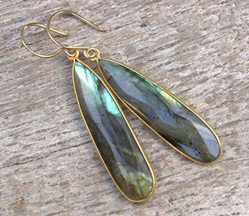 Labradorite Gold Earrings, Long Dangle Earrings Gold, Long Gold Teardrop Earrings, Blue Stone Earrings - Gold Labradorite Earrings