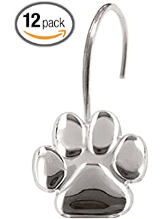 Amazing Paw Print   Shower Curtain Hooks, Polished Chrome, High Quality, Includes A  Set