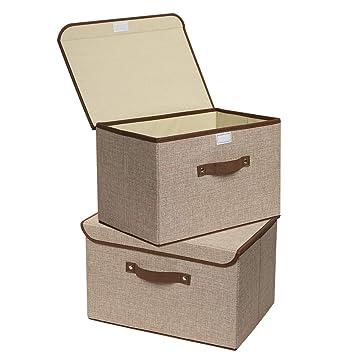 8df9266cb5c3 Storage Bins, UUJOLY Foldable Storage Box Cube with Lids and Handles Fabric  Storage Basket Bin...