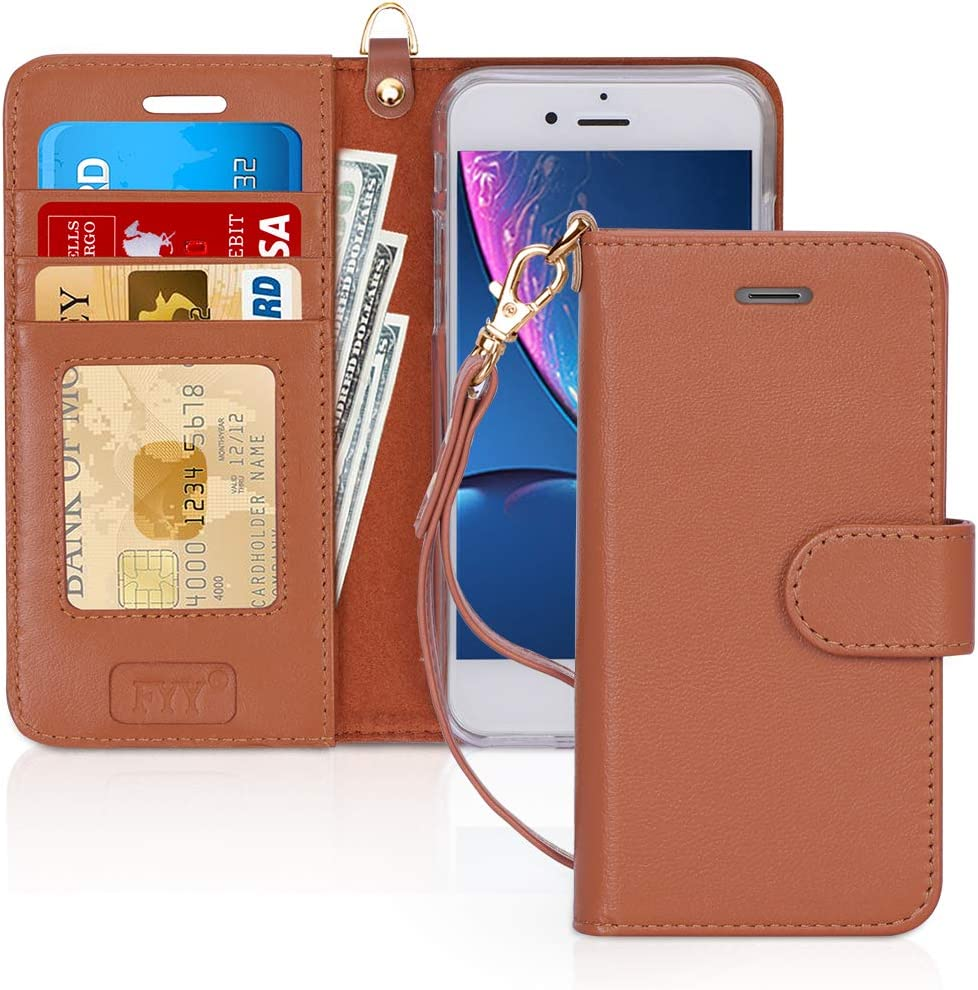 FYY Case for iPhone 8 Plus/7 Plus, [Kickstand Feature] Luxury Genuine Leather Wallet Phone Case Flip Folio Protective Cover with [Card Holder][Wrist Strap] for iPhone 7 Plus/8 Plus (5.5