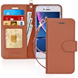 FYY Case for iPhone 8 Plus/7 Plus, [Kickstand Feature] Luxury Genuine Leather Wallet Phone Case Flip Folio Protective Cover w