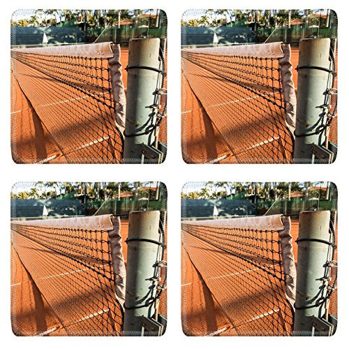 Luxlady Natural Rubber Square Coasters IMAGE ID: 33865001 Clay Dirt Tennis Court under the sunset