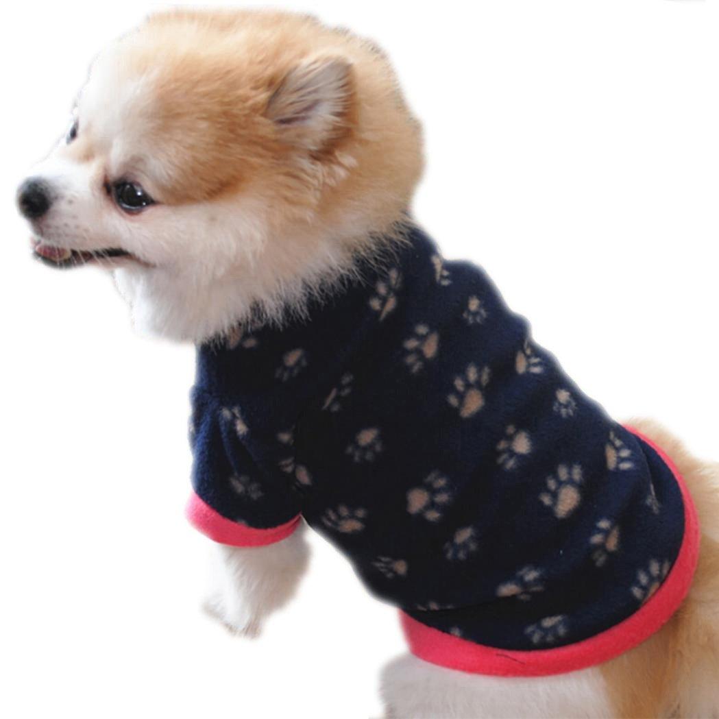 Pet Clothes, Howstar Puppy Winter Sweater Polar Fleece Soft T Shirts Dog Classic Outfit (XXS, Navy)
