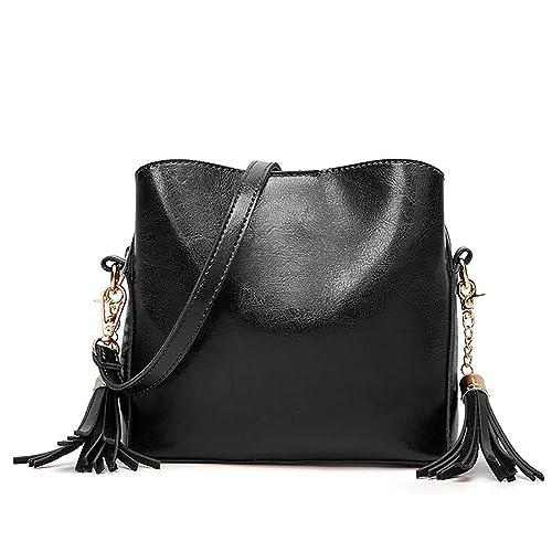e992b758ca88 Women Shoulder Bags Ladies Crossbody Bag with Tassel Cross body Bucket  Handbag - Black