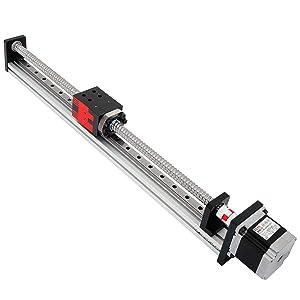 FUYU FSL40 Linear Guide Slide Table Ball Screw Motion Rail CNC Linear Guide Stage Actuator Motorized Nema 23 Stepper Motor[400mm Stroke]