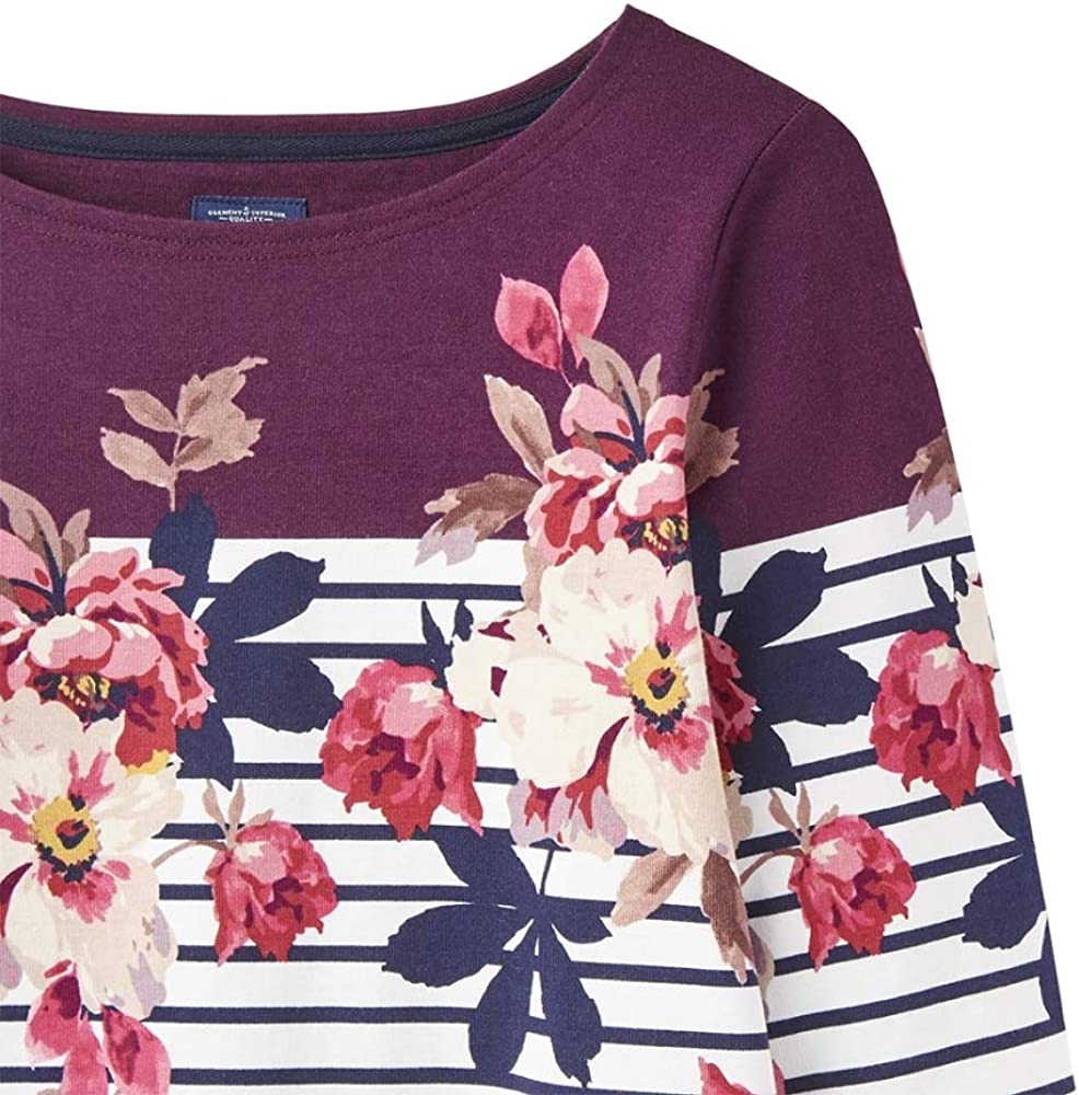 Joules - Maglia Harbourprint, motivo rose Burgundy Bircham Bloom Stripe