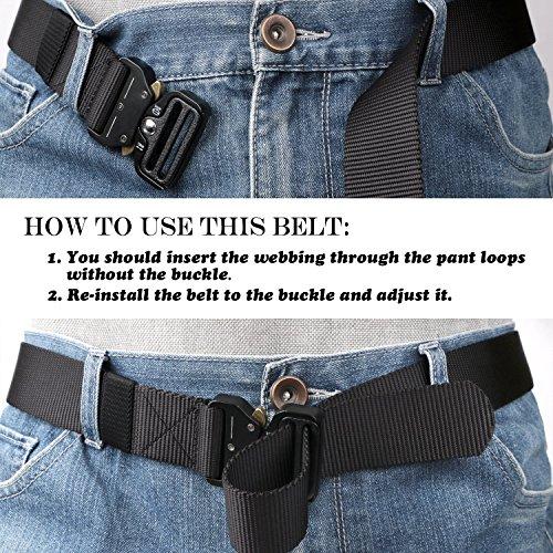 TENINE Cobra Buckle Belt, 1.5 Inch Tactical Heavy Duty Belt Nylon Military Style Belt with Quick Release Metal Cobra Buckle for EDC Molle Equipment