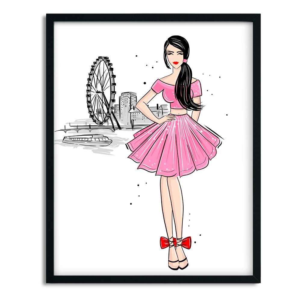 Lilcastle Stiefel und M/ädchen im Rosa Kleid London M/ädchen Poster Kinderzimmer A3 2er Set Bilder Deko Kinderzimmer M/ädchen