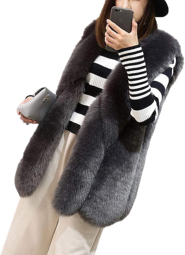 Lingswallow Womens Winter V Neck Slim Faux Fox Fur Thick Sleeveless Vest Jacket Coat