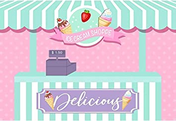 DORCEV 6.5x6.5ft Happy Birthday Photography Backdrop Pink White Stripe Wall Sweet Dessert Background Cartoon Ice Cream Strawberry Background Girls Birthday Party Photo Studio Props
