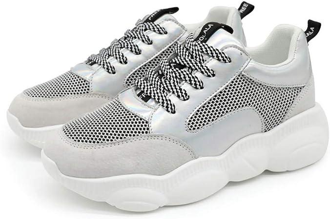 ZHIJINLI Zapatillas de Panda Zapatillas de Running Zapatillas de Malla Transpirable de Suela Gruesa para Mujer Zapatillas Blancas, 7.5 TAMAÑO: Amazon.es: Hogar
