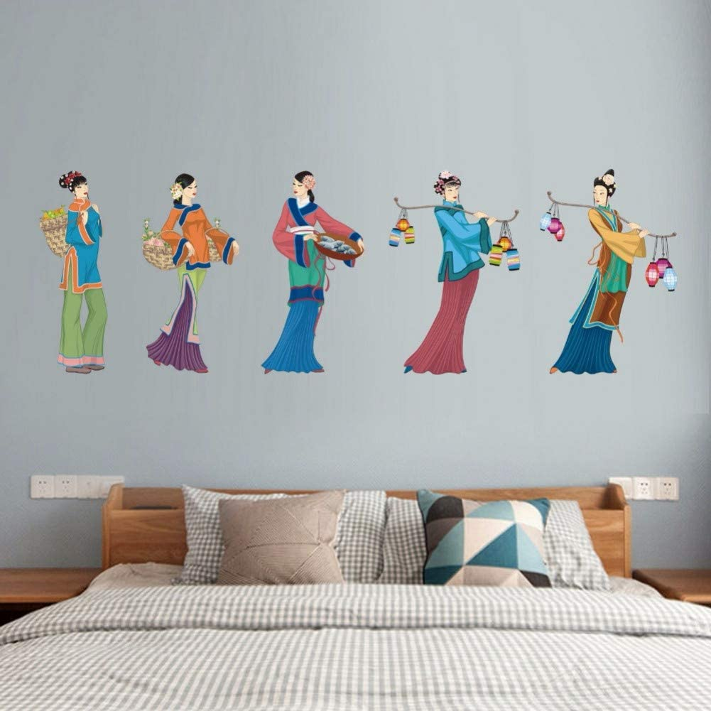Women Go To Market Living Room Bedroom Art Wall Sticker Family Portrait Decals Removable Diy Mural Wallpaper Amazon Co Uk Diy Tools