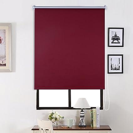 SHINY HOME® Persiana Enrollable Cortinas Estor opaco 80_x_175_cm - Rojo vino