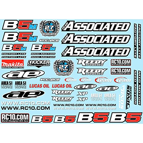 Team Associated 91614 Rc10 B5 Series Decal Sheet for B5, B5M, B5M-Fl
