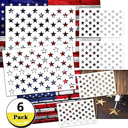 6 pieces star stencil 50 stars american flag template for painting