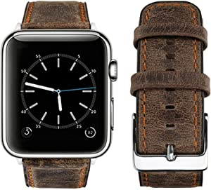 top4cus Genuine Leather iwatch Strap Replacement Band Stainless Metal Clasp, Compatible Apple Watch Series 4 Series 3 Series 2 Series 1 and Sport Edition (Retro Brown, 42 mm)