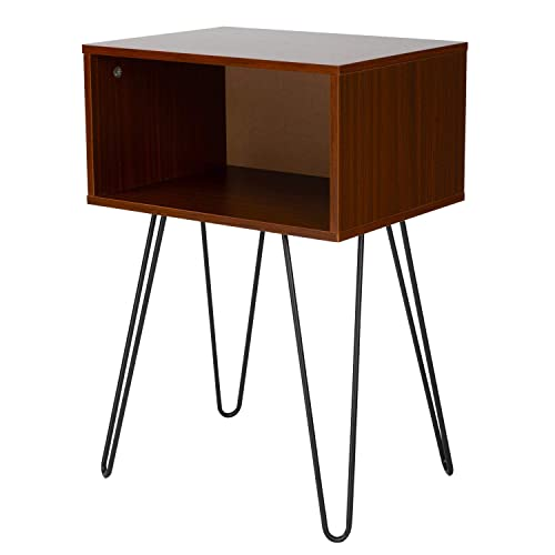End Table, Sturdy Nightstand Table, Sofa Side Table with Metal Hairpin Legs and Storage Drawer for Living Room Bedroom Easy Assembly by Pipishell