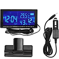 KIMISS Reloj digital para automóvil, termómetro universal para vehículos de 12-24 V, higrómetro, voltímetro para…