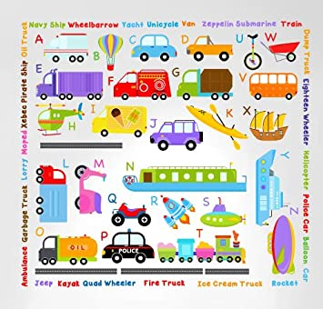 Innovative stencils 3004 cars transportation alphabet peel and stick wall nursery kids educational decals stickers