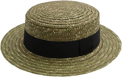 Classic Italy Canotier Boater Hat Gondolier Straw Size 56 cm Natural