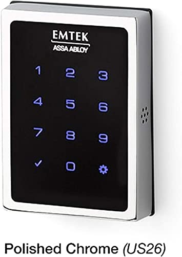 Emtek Empowered Motorized Touchscreen Keypad Smart Deadbolt - Connected by August, Polished Chrome US26 , Model EMP1101US26