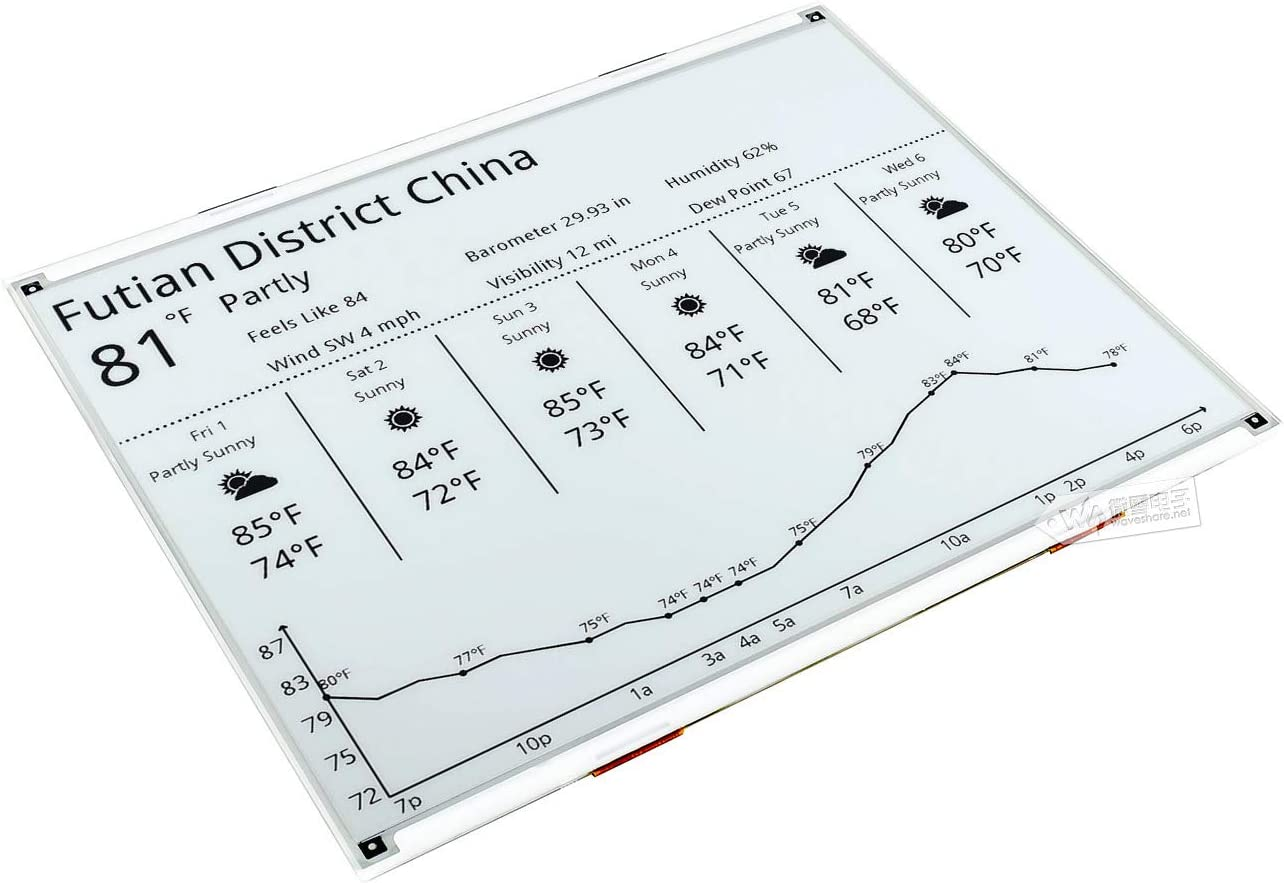 12.48inch e-Paper 1304/×984 Resolution Without PCB Communicating via SPI Interface Black and White Display