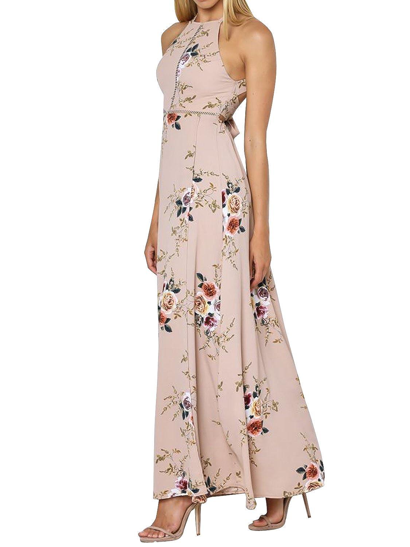 Simplee Apparel Las mujeres abrigo de cuello halter Backless floral ...