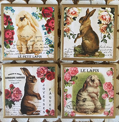 Trim Bunny - Coasters! Shabby chic inspired bunny coasters with gold trim