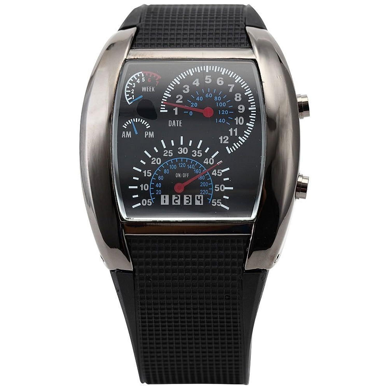 lightinthebox® blue led light aviation pilot speedometer dash men s blue led speedometer light aviation pilot binary digital wrist watch