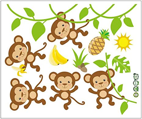 Amazon Com Monbedos 1pcs Monkey Cartoon Murals Living Room Nursery Background Decoration Wall Decal Children Baby House Class Room Decor Home Kitchen