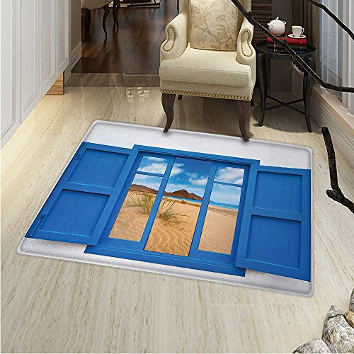 Spain Small Rug Carpet Sand View from Window Spain Beach Distant Hill Plants Sand Touristic Print Door mat Indoors Bathroom Mats Non Slip 2'x3' Blue Sand Brown by Anhounine