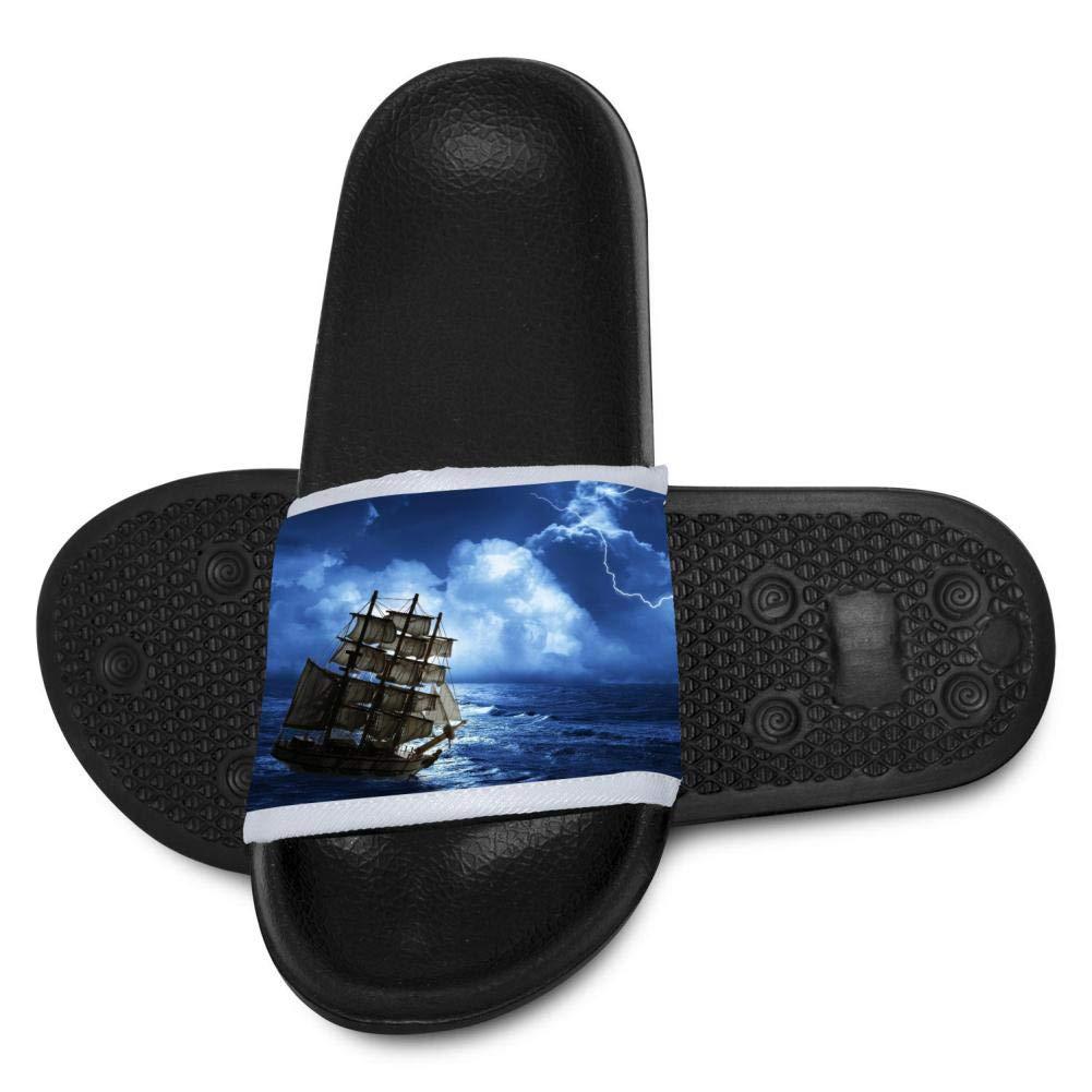 Qujki Kids Ship Beach Sandal Non-Slip Bath Slipper Black