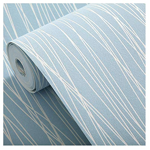 Blooming Wall:Non-woven Classic Plain Stripe Moonlight Forest Textured Wallpaper,20.8 In32.8 Ft=57 Sq ft Per Roll,Light Blue