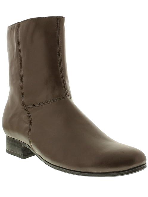 Men's Black Stefano 2 Zipper Leather Cowboy Ankle Boots Round 105