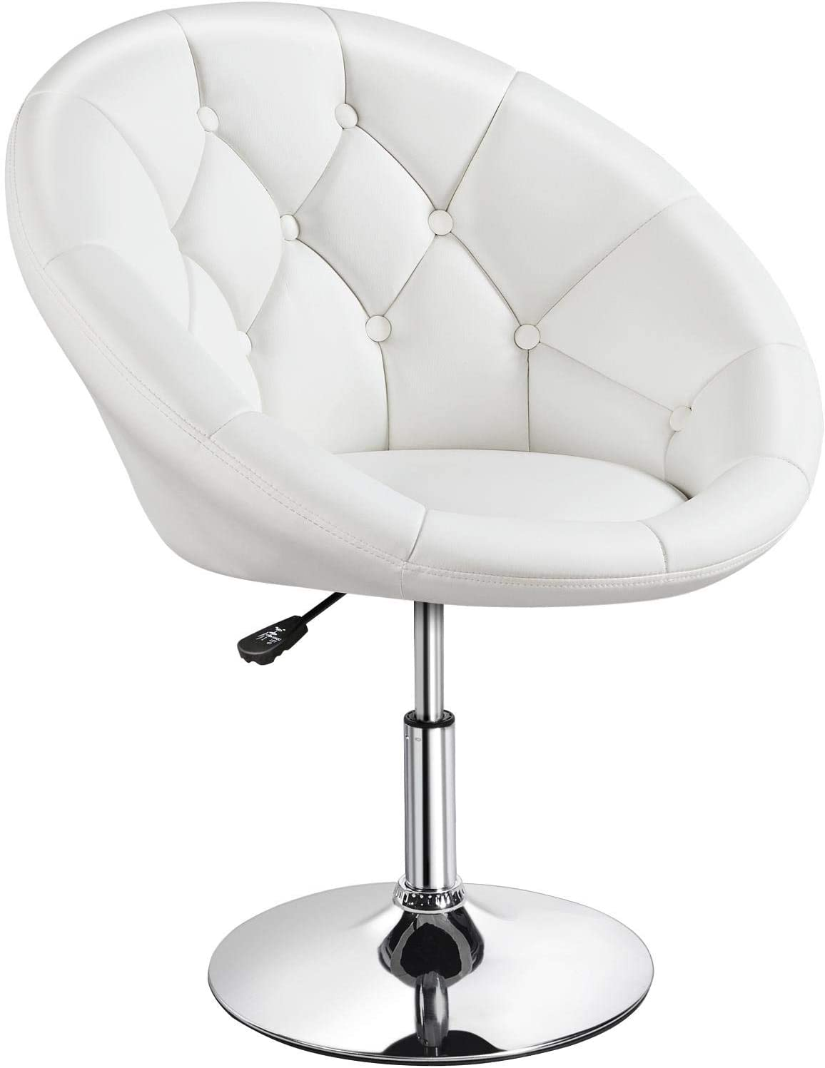 Yaheetech Height Adjustable Modern Round Tufted Back Chair Upholstered  Swivel Barrel Chair Vanity Chair Barstool Lounge Pub Bar Capable of