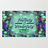 Society6 FEARFULLY AND WONDERFULLY MADE Floral Christian Typography God Bible Scripture Jesus Psalm Abstract Rug 2' x 3'