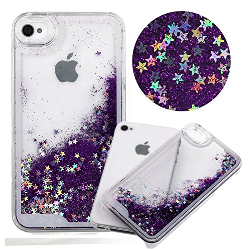 iphone 4 Case,funy flowing Quicksand Stars Liquid Shiny Bling Glitter Sparkle Transparent Crystal Clear Hard PC Cover Case for Apple iphone 4 4S(purple) (Iphone 4 Cases Crystal compare prices)