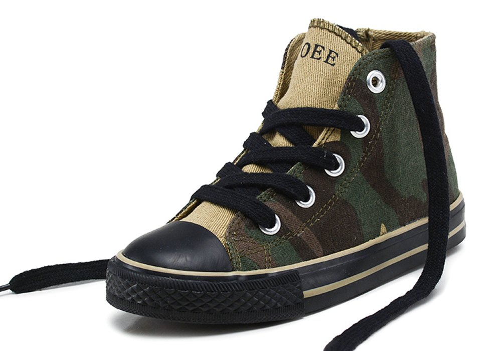 iDuoDuo Kids Fashion Camo Shoes Anti-Collision Lace Up Canvas Sneakers Army Green 13.5 M US Little Kid