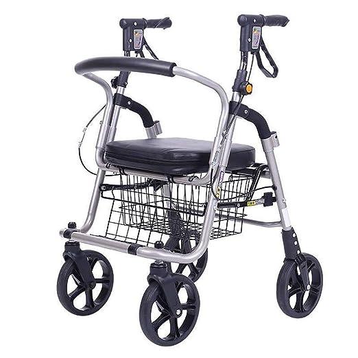Andador con ruedas plegable, asiento, andadores de cuatro ruedas ...
