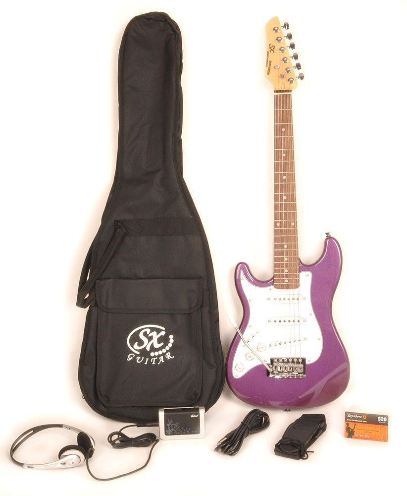 SX RST 1/2 MPP Left Handed 1/2 Size Short Scale Purple Guitar Package with Amp, Carry Bag and Instructional Video B00XYKL6RO