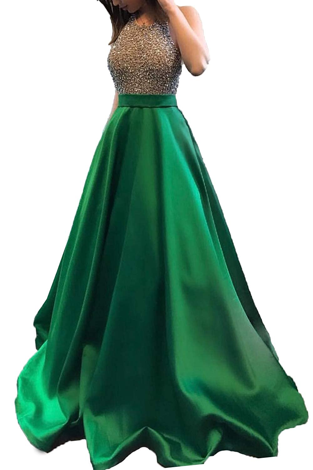 Emerald Green Promworld Women's Rhinestone Halter Neck A line Prom Dress Satin Formal Gown Evening Party Dress