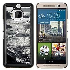 EJOOY---Cubierta de la caja de protección para la piel dura ** HTC One M9Plus M9+ M9 Plus ** --Waves Beach Montañas Negro
