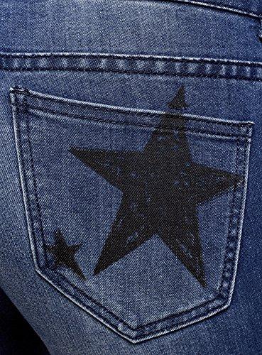 Blu oodji Scritte Donna Ultra Skinny con Jeans 7500w 1B61Z8