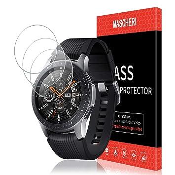 MASCHERI Protector de Pantalla para Samsung Galaxy Watch 46mm, [3 Unidades] Cristal Transparente Templado SmartWatch con de reemplazo de por Vida