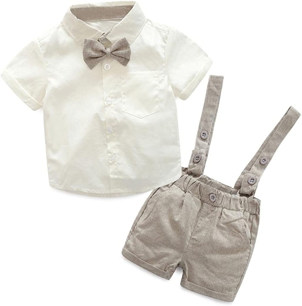 IDOPIP Baby Boys Outfits Set Newborn Infant Clothing Gentleman Suit Romper Suspender Shorts Outfit for Toddler Kids 3-24 Months