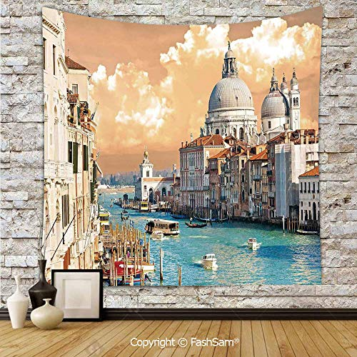 FashSam Tapestry Wall Hanging Grand Canal in Venice Italy Historical European Cityscape Town Tower Boho Print Tapestries Dorm Living Room Bedroom(W59xL78)