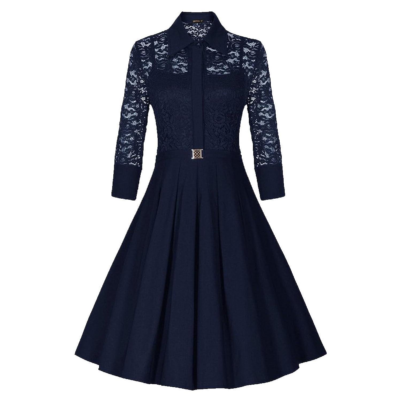Partiss Damen Frauen elegante Spitze halbe Huelsen Brautjunfer Cocktailparty Kleid Abendkleid