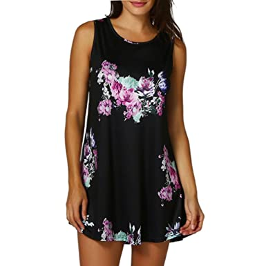 a7e1a5e9511 Joopee Summer Tank Tops, Womens Casual Floral Print Sleeveless Swing Vest  Holiday Beach Tunic Tops